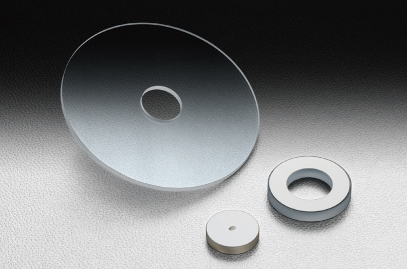 Optical flats with hole